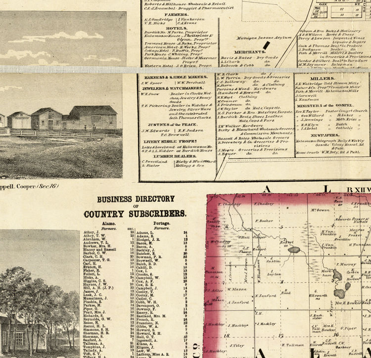 Old Map of Kalamazoo Michigan 1861 United States of America - product image