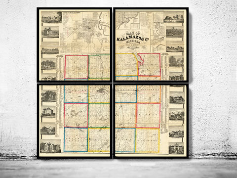 Old,Map,of,Kalamazoo,Michigan,1861,(FOUR,PLATES),map of kalamazoo, kalamazoo map, kalamazoo print, old map of kalamazoo, kalamazoo michigan, kalamazoo poster