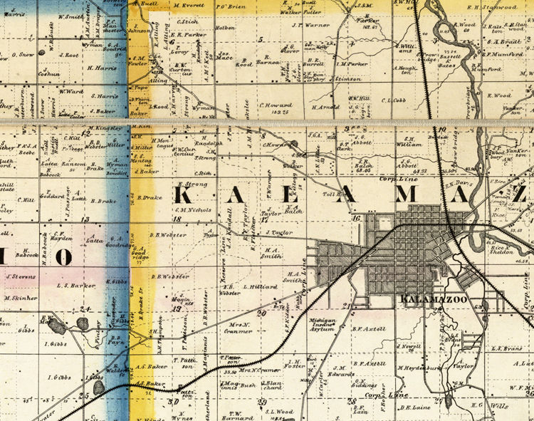 Old Map of Kalamazoo Michigan 1861  (FOUR PLATES)  - product images  of