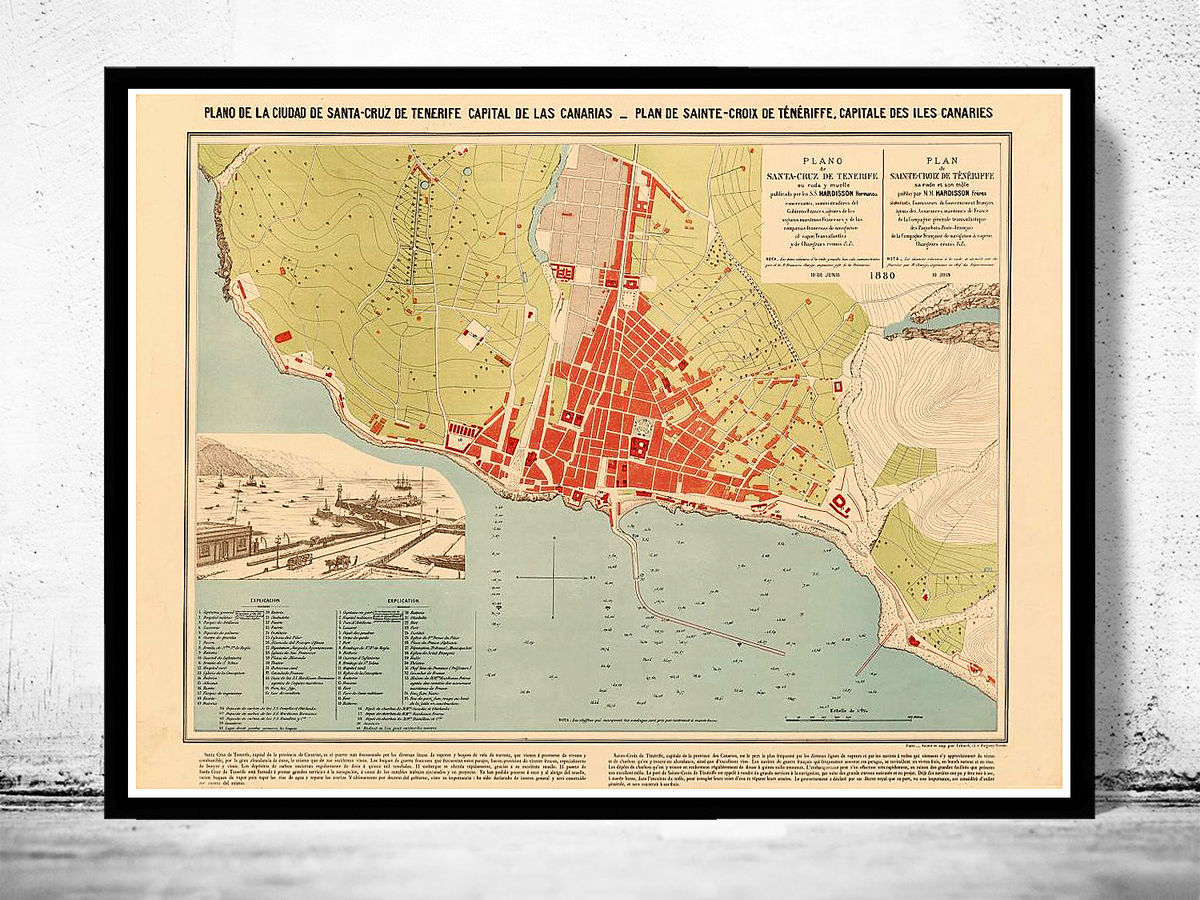 Old Map of Santa Cruz Tenerife Canary Islands 1880 - product images  of