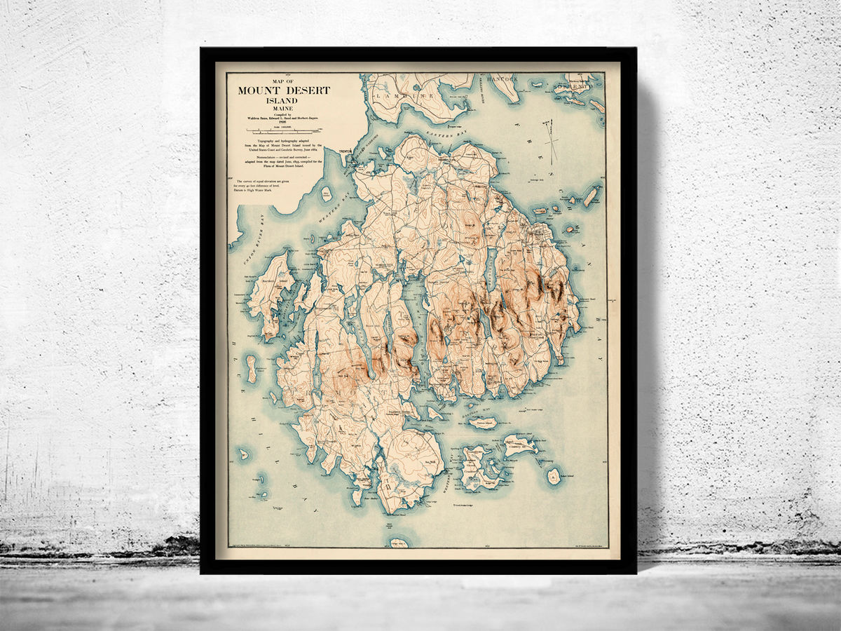Old Map of Mount Desert Island Maine 1896  - product images  of