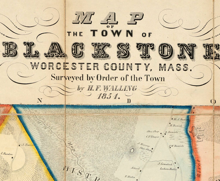 Old Map of Blackstone Massachusetts 1854 - product images  of