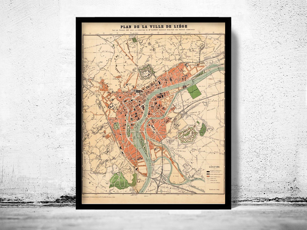 Old Map of Liège Belgium 1880 - product images  of