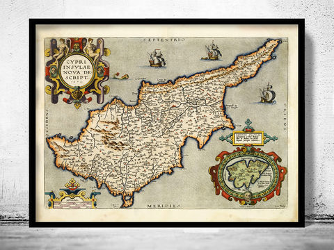Old,Map,of,Cyprus,1573,cyprus, old map of cyprus, chipre, cyprus map, old maps,vintage maps, antique map,cyprus poster, antique print