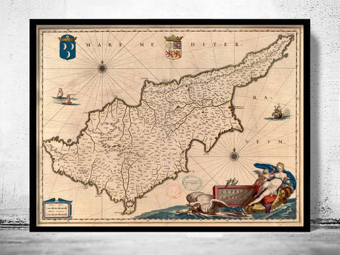 Old,Map,of,Cyprus,1650,cyprus, old map of cyprus, chipre, cyprus map, old maps,vintage maps, antique map,cyprus poster, antique print