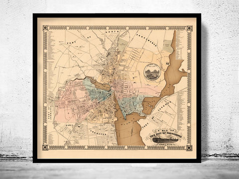 Old,Map,of,Providence,1849,Rhode,Island,Vintage,rhode island, providence, providence rhode island, map of providence, providence map, providence poster, map reproduction