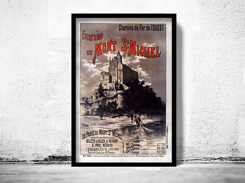 Vintage,Poster,of,Mont,St,Michel,France,1895,mont st michel, mont saint michel, mont st michel poster, michel poster, france, tourisme poster,  advertise poster, ,Art,Reproduction,Open_Edition,vintage_poster,retro_poster,travel_poster,touristic_poster