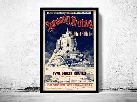 Old,Poster,of,Mont,St,Michel,France,1899,mont st michel, mont saint michel, mont st michel poster, michel poster, france, tourisme poster,  advertise poster, ,Art,Reproduction,Open_Edition,vintage_poster,retro_poster,travel_poster,touristic_poster