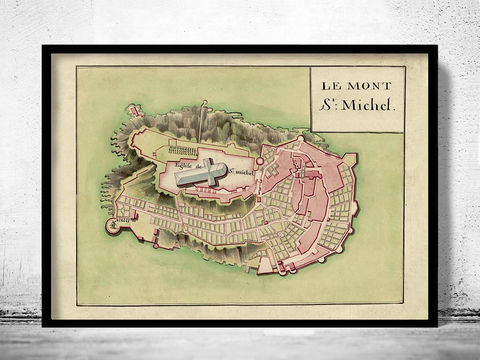 Old,map,of,Mont,St,Michel,France,1700,mont st michel, mont saint michel, mont st michel poster, michel poster, france, tourisme poster,  advertise poster, ,Art,Reproduction,Open_Edition,vintage_poster,retro_poster,travel_poster,touristic_poster