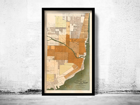 Old,Map,of,Miami,Florida,1918,miami map, miami florida, miami old map, miami gift, miami print, miami poster, miami beach, map of miami, old map, antique map, miami city plan
