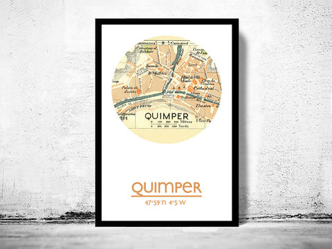 QUIMPER,-,city,poster,map,print, QUIMPER print, QUIMPER poster, QUIMPER Poster, french art, QUIMPER city, wall decor, city,maps, travel poster