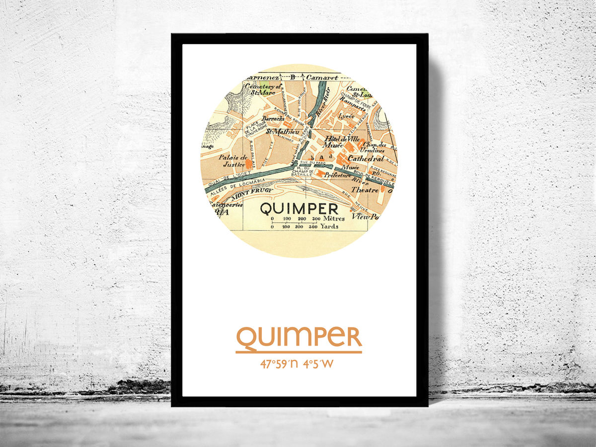 QUIMPER - city poster - city map poster print - product images  of