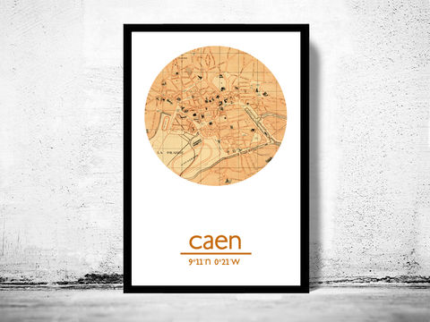 CAEN,-,city,poster,map,print, CAEN print, CAEN poster, CAEN Poster, french art, CAEN city, wall decor, city,maps, travel poster