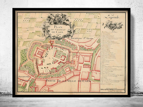 Old,Map,of,Caen,France,1754,Art,Reproduction,Open_Edition,vintage,gravure,vintage_map,caen, caen map, caen france, caen poster, old map of caen, old maps for sale, map reproductions