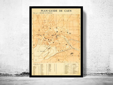 Old,Map,of,Caen,France,1930,Art,Reproduction,Open_Edition,vintage,gravure,vintage_map,caen, caen map, caen france, caen poster, old map of caen, old maps for sale, map reproductions