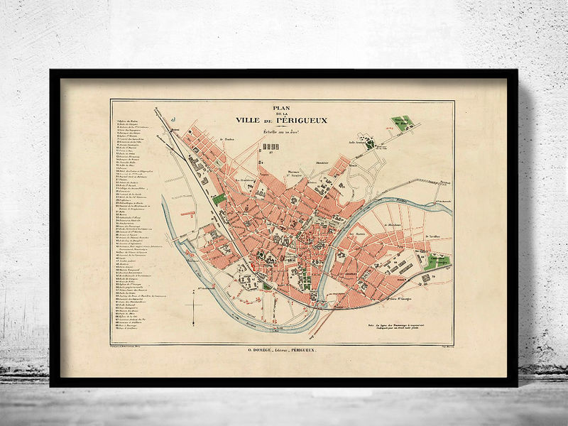 Old Map of Perigueux France 1920 - product image