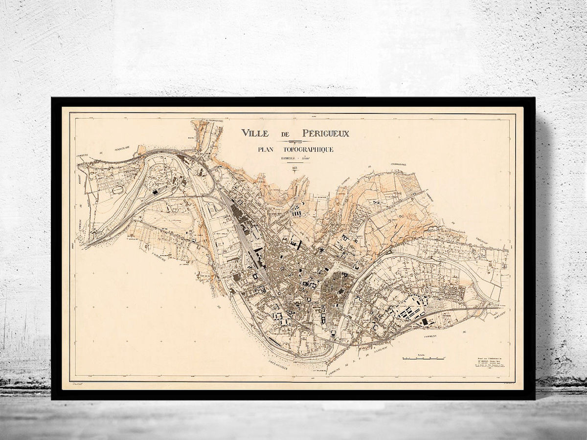 Old Map of Perigueux France 1933 - product images  of