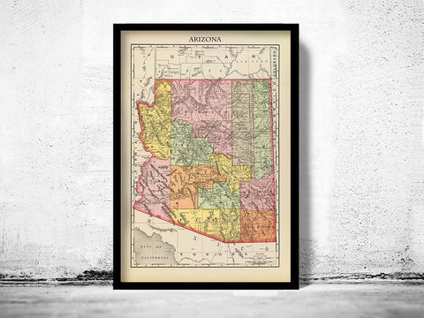 Old,Map,Arizona,1897,arizona, arizona map, old map of arizona, map of arizona, arizona decor, arizona state, arizona poster, arizona print