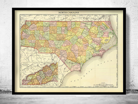 Old,Map,North,Carolina,1897,map of north carolina, north carolina decor, north carolina map, north carolina print, north carolina poster