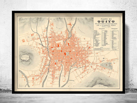 Old,Map,of,Quito,Ecuador,1888,Equator,Republic,quito city, quito ecuador, old map of Quito, Quito print, ecuator, ecuator map, map of ecuator, equator republic, ecuator poster, vintage decor