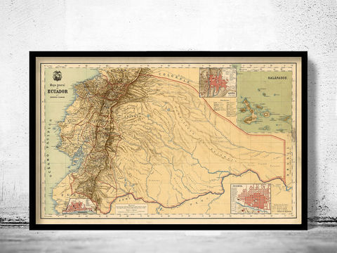 Old,Map,of,Ecuador,1894,Equator,Republic,ecuator, ecuator map, map of ecuator, equator republic, ecuator poster, vintage decor
