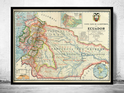 Old,Map,of,Ecuador,1902,Equator,Republic,ecuator, ecuator map, map of ecuator, equator republic, ecuator poster, vintage decor