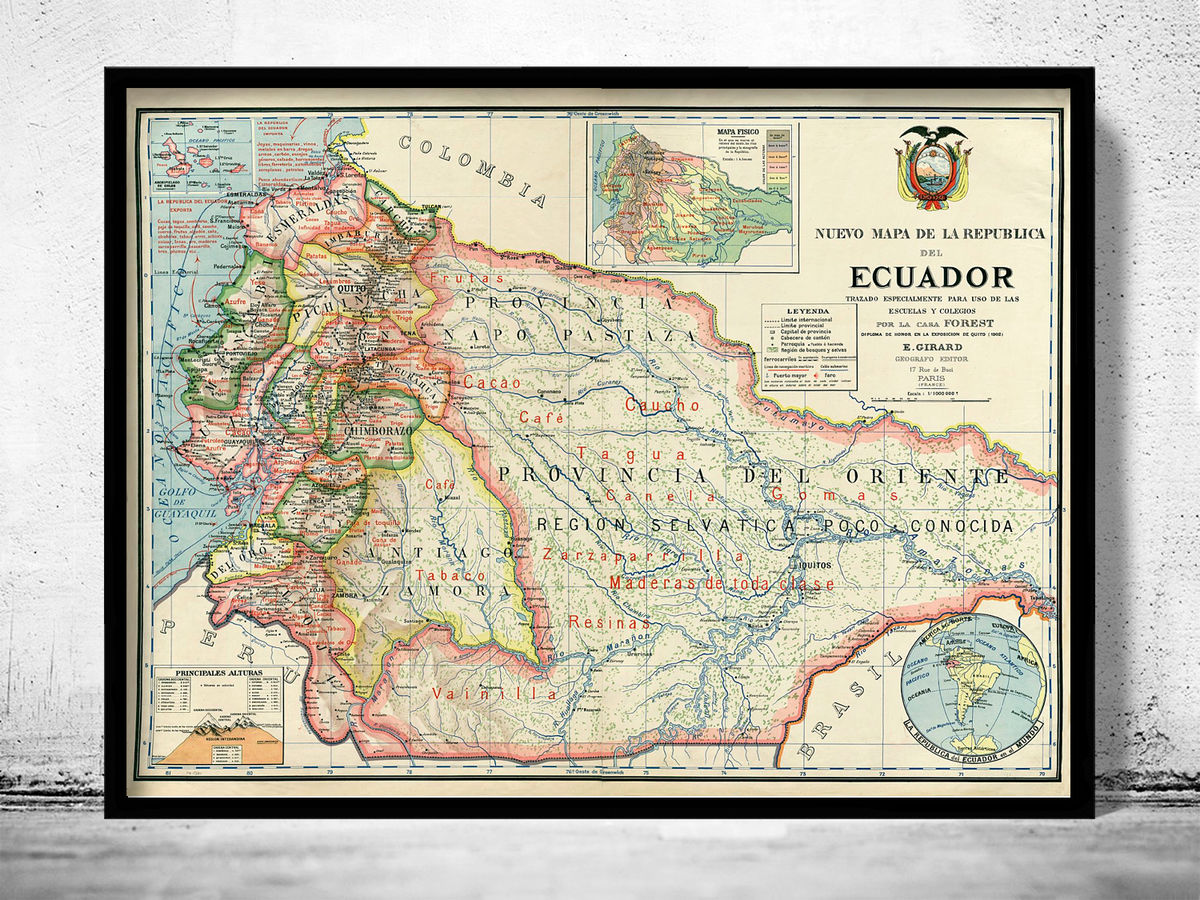Old Map of Ecuador 1902 Equator Republic - product images  of