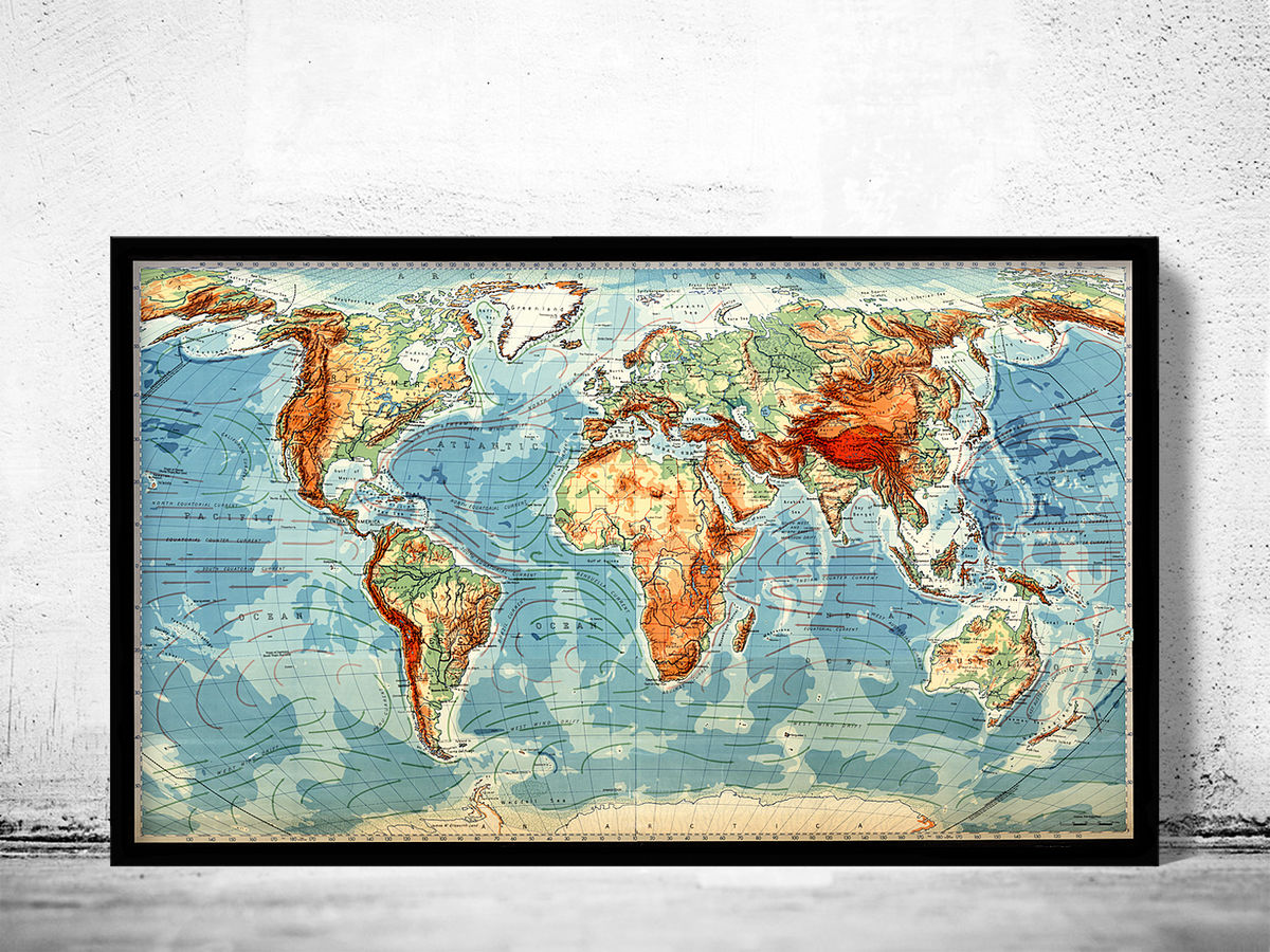 Old Map of the World Vintage Atlas Mercator projection - product images  of