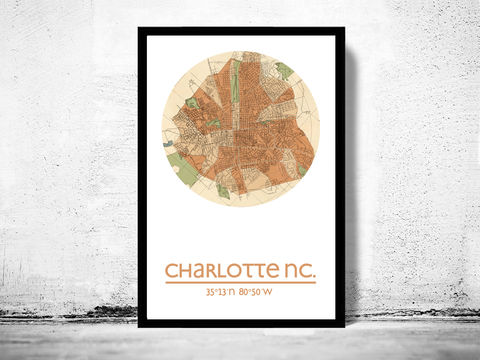 CHARLOTTE,NC,-,city,poster,map,print, CHARLOTTE print, CHARLOTTE NC poster, united states Poster, american art, CHARLOTTE NC, chicago map, wall decor, city,maps, travel poster