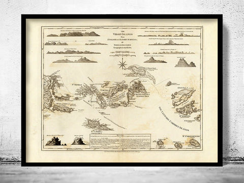 Antique,Map,of,Virgin,Islands,1775,st john virgin islands, virgin islands map, map of virgin islands