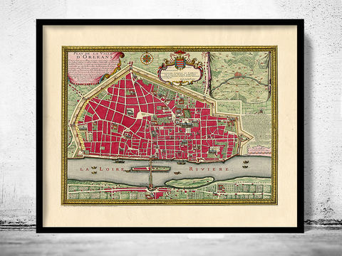 Old,Map,of,Orleans,1700,France,orleans france, orleans city, orleans mappe, map of orleans, orleans poster, orleans map