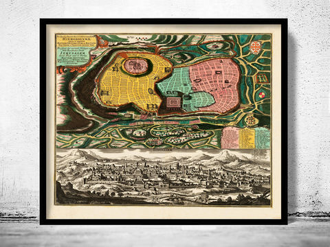 Old,Map,of,Jerusalem,1730,Holy,Land,Palestine,Art,Reproduction,Open_Edition,vintage,plan,medieval,gravure,vintage_map,illustration,city_plan,old_map,holy_land,engraving,Religious