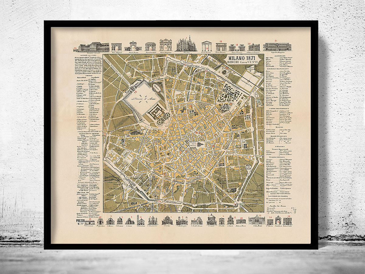 Old Map of Milan Milano Italia 1871 - product images  of