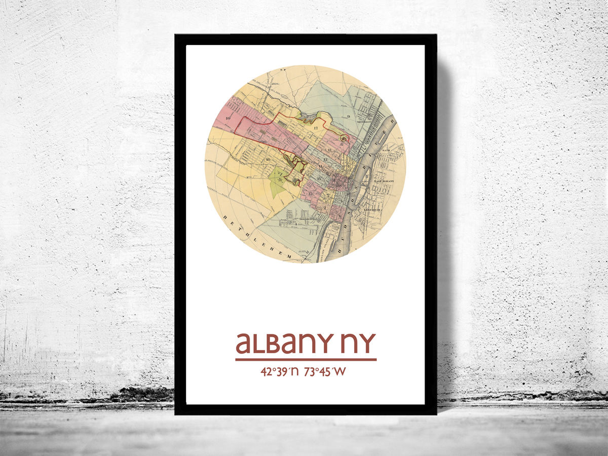 ALBANY NY - city poster - city map poster print - product images  of