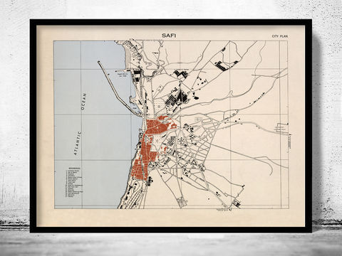 Old,Map,of,Safi,Morocco,Vintage,safi, safi, map of safi, safi map, safi poster, safi morocco