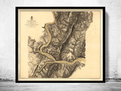 Antique,Map,of,Harpers,Ferry,West,Virginia,1863,harpers ferry wv, harpers ferry map, harpers ferry gift