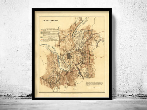 Antique,Map,of,Chattanooga,,Tennessee,1863,Chattanooga Tennessee, Chattanooga map, Chattanooga Tn gift