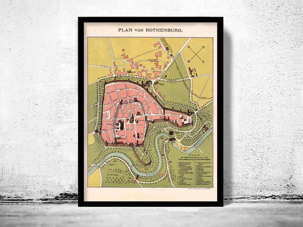 Old Map of Rothenburg Germany 1903 - product images  of