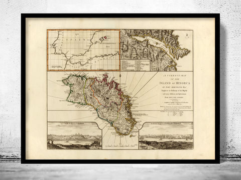Old,Map,of,Minorca,Spain,1794,minorca, minorca island, map of minorca, minorca poster, minorca map, minorca print, minorca gift