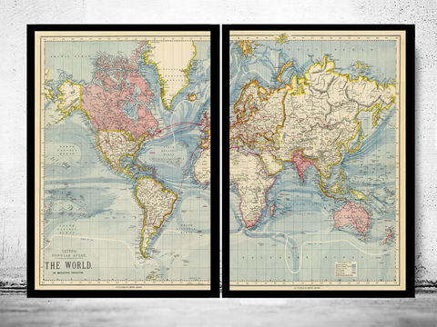 Vintage,World,Map,1883,Mercator,projection,(2,PIECES),old world map, world map, world map for sale, maps for sale, atlas, antique map, antique world map, vintage maps, old maps
