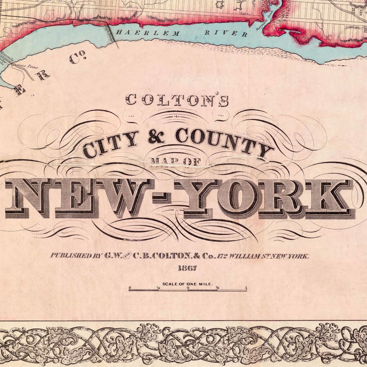 Old Map of New York 1867 Manhattan (3 PIECES) - product images  of