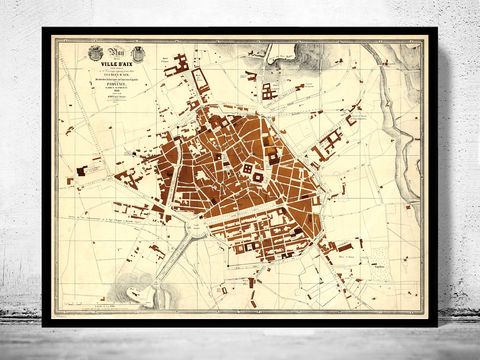 Old,Map,of,Aix-En-Provence,1848,France,Aix-En-Provence map, Aix-En-Provence print