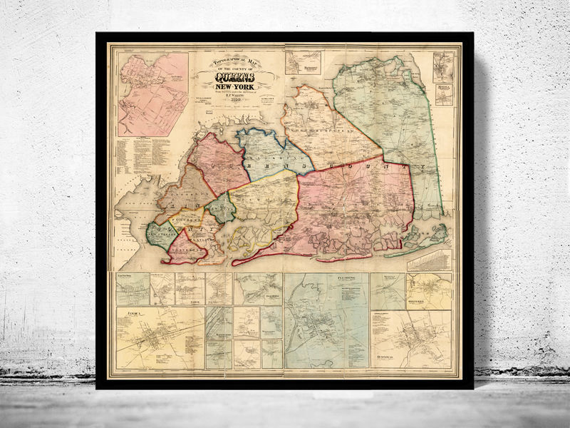Old Map of Queens County New York 1859  - product image