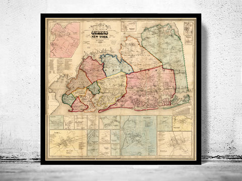 Old,Map,of,Queens,County,New,York,1859,, Manhattan  , new york  , old map , vintage map  , new york map  , manhattan map × antique map  × new york poster  , manhattan poster , brooklyn vintage  , brooklyn map  , ny map, new york poster, ny poster, map of new york, new york map,Dutchess, Kings