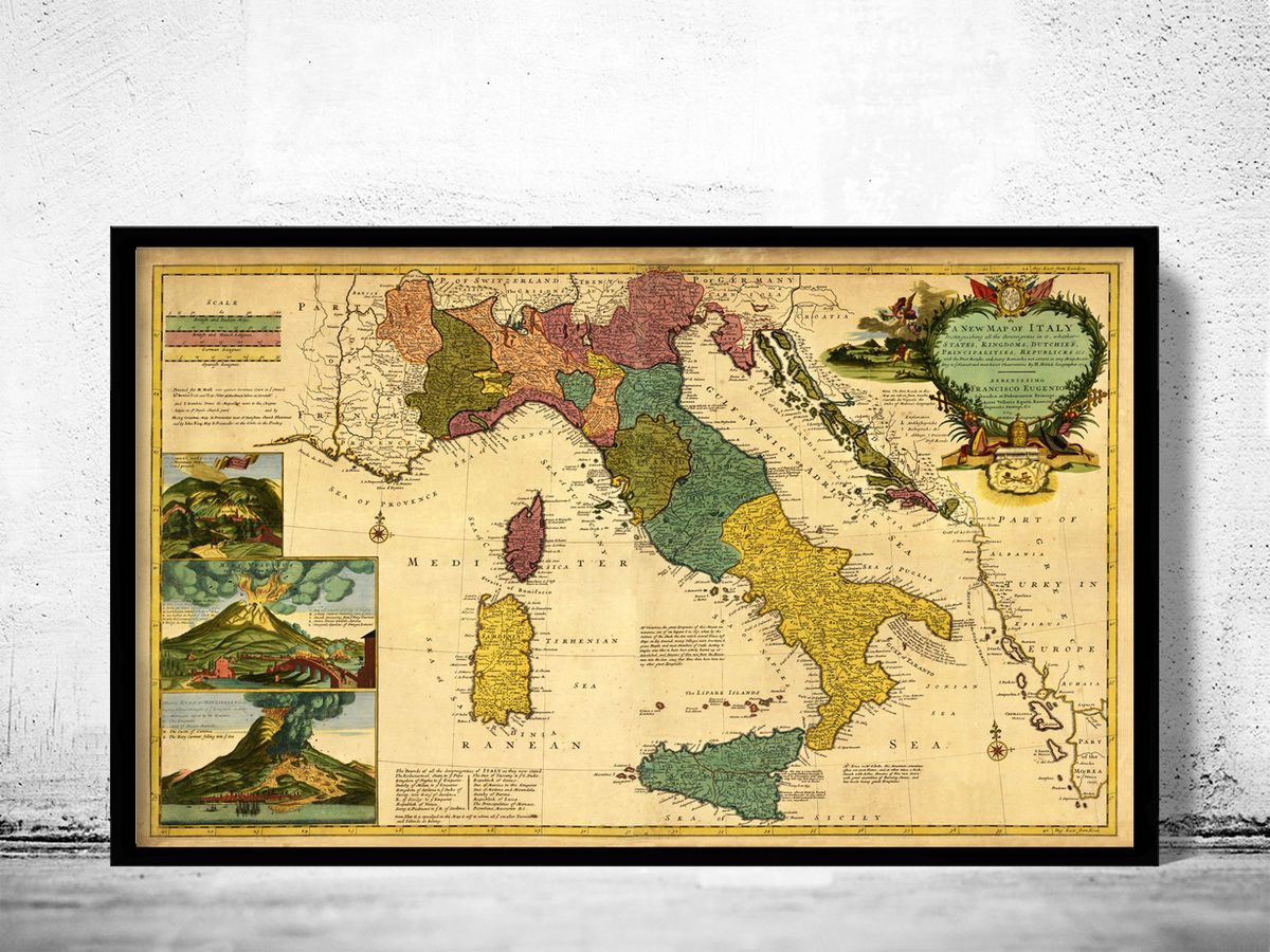 Old Map of Italy 1730 - fine reproduction - product images  of