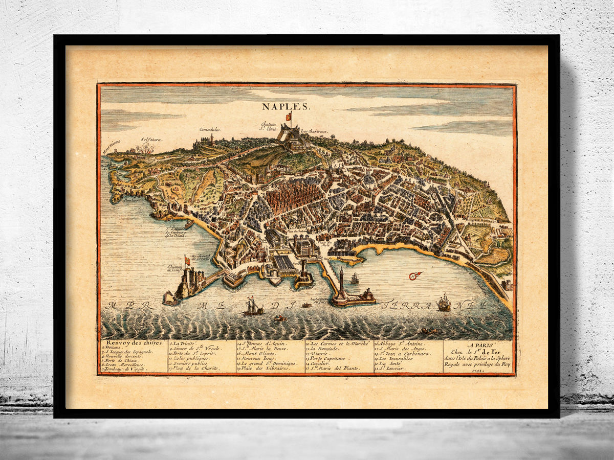 Old Map of Napoli Naples 1705 - fine reproduction - product images  of