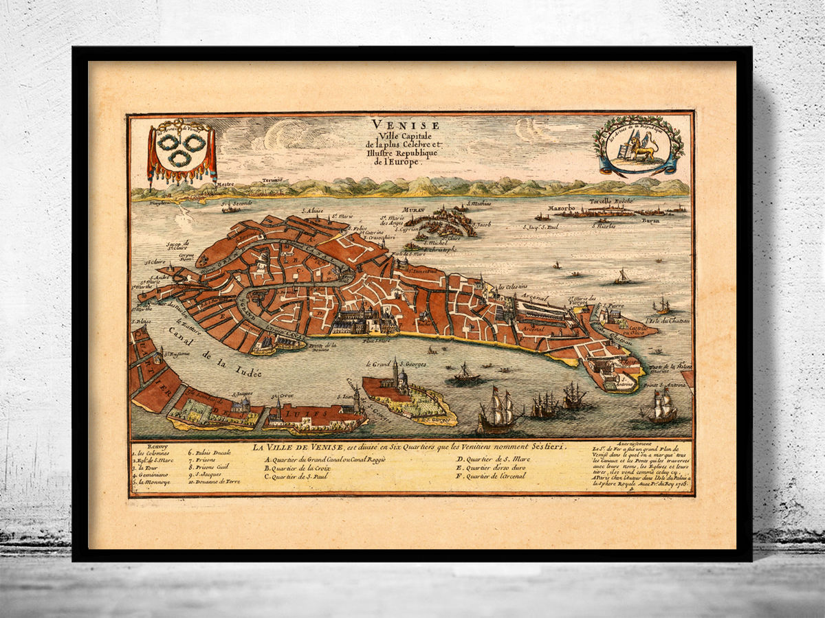 Old Map of Venice 1705 Venetia Venezia  - product images  of