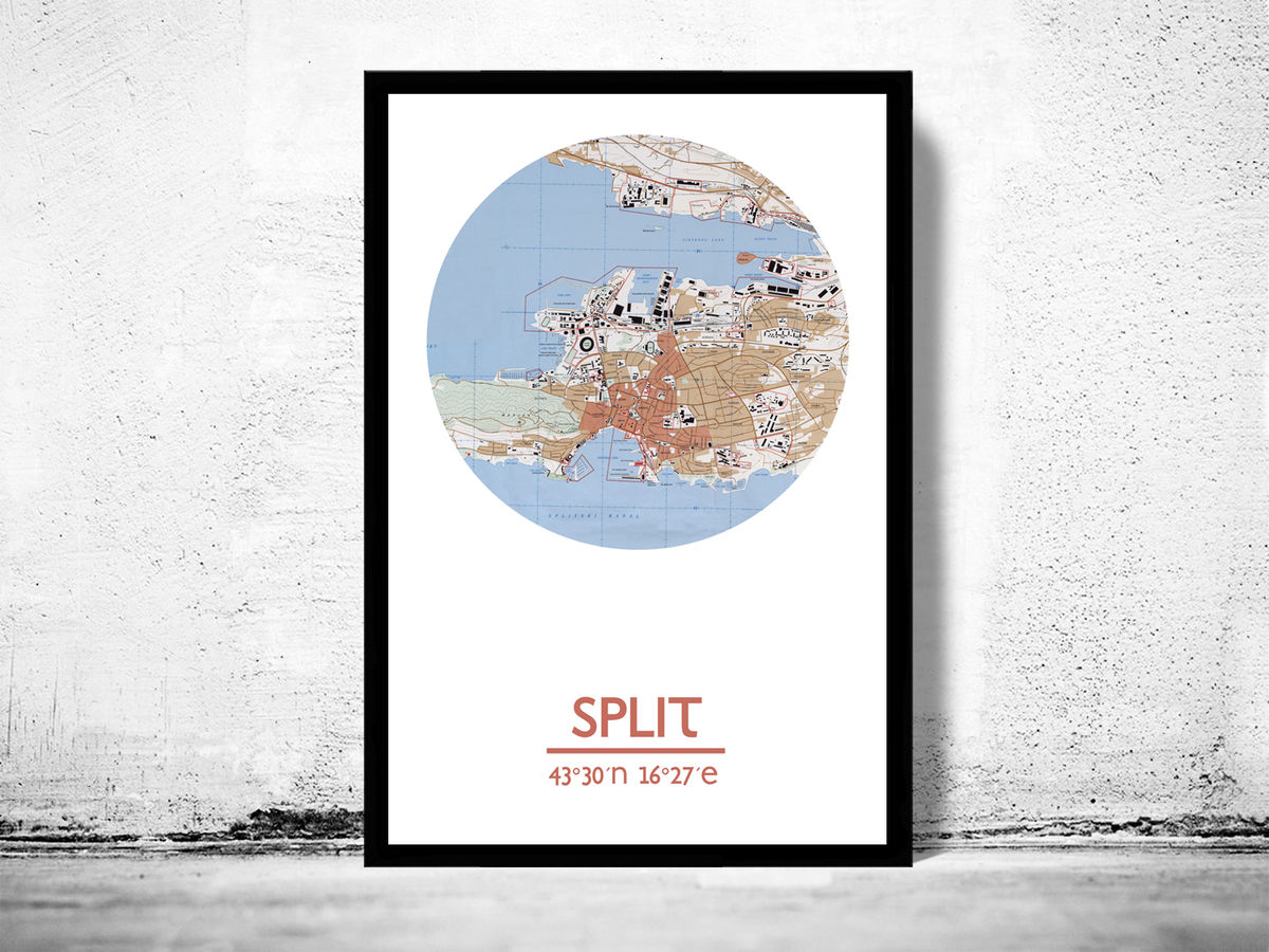 SPLIT - city poster - city map poster print - product images  of