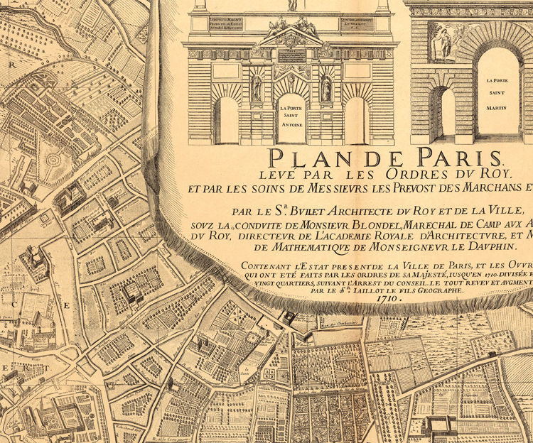 Old Map of Paris, France 1710 - product image