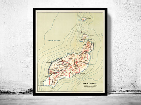 Old,Map,of,Lanzarote,Island,-,fine,reproduction,Vintage map  , vintage poster  , lanzarote map, lanzarote old map, old map of lanzarote, lanzarote poster